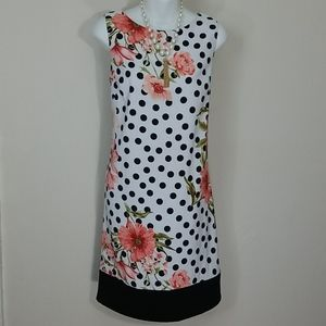 Sundress White black polka dots blush floral print